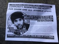 Flyer we handed out about ghani